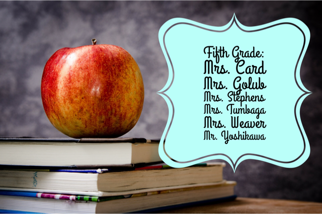 Fifth Grade Teachers List